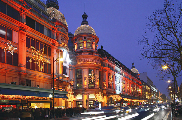 Paris Christmas lights, Au Printemps, Boulevard Haussman