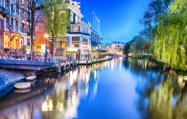 Spring evening by the canals in Amsterdam